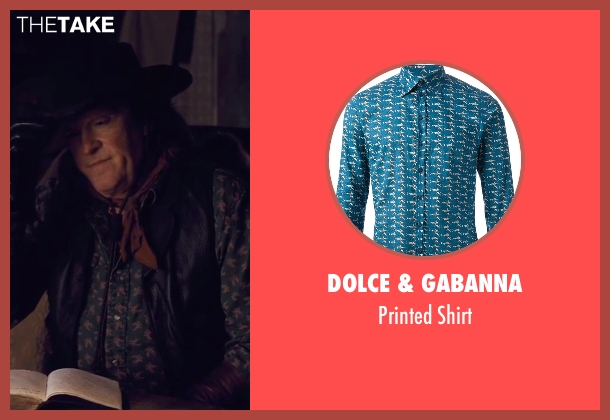 Dolce & Gabanna blue shirt from The Hateful Eight seen with Michael Madsen (Joe Gage)