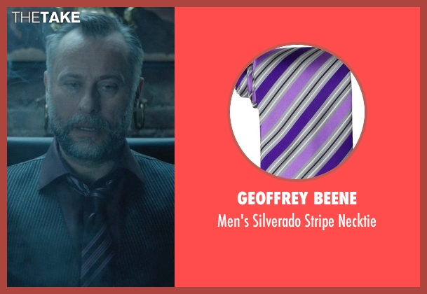Geoffrey Beene purple necktie from John Wick seen with Michael Nyqvist (Viggo Tarasov)