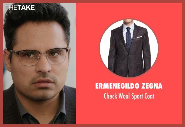 Ermenegildo Zegna brown coat from Collateral Beauty seen with Michael Peña (Simon Scott)
