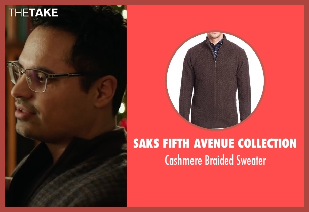 Saks Fifth Avenue Collection brown sweater from Collateral Beauty seen with Michael Peña (Simon Scott)