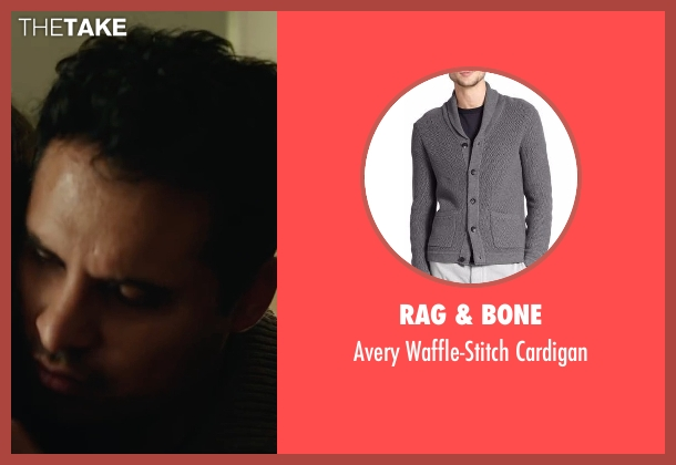 Rag & Bone gray cardigan from Collateral Beauty seen with Michael Peña (Simon Scott)