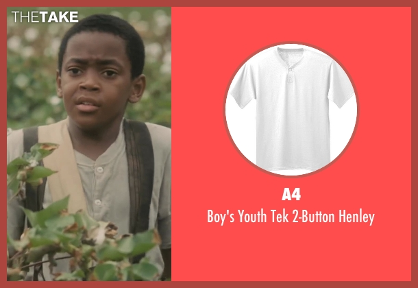 A4 white henley from Lee Daniels' The Butler seen with Michael Rainey Jr. (Cecil Gaines (8 yrs.old))
