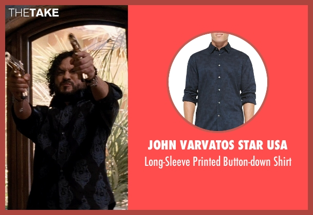 John Varvatos Star USA blue shirt from Hot Pursuit seen with Michael Ray Escamilla (Angel)