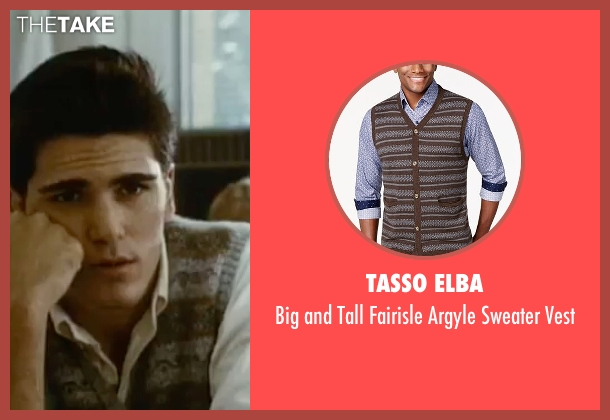Tasso Elba brown vest from Sixteen Candles seen with Michael Schoeffling (Jake Ryan)
