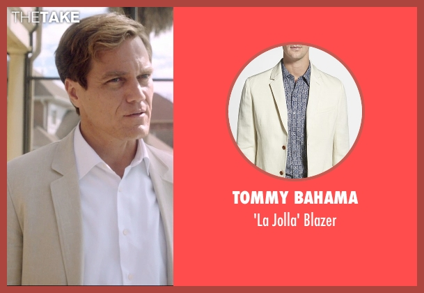 Tommy Bahama beige blazer from 99 Homes seen with Michael Shannon (Rick Carver)