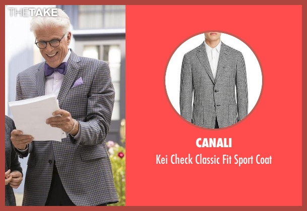 Canali black coat from The Good Place seen with Michael (Ted Danson)