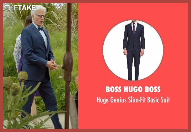 Boss Hugo Boss blue suit from The Good Place seen with Michael (Ted Danson)