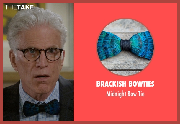 Brackish Bowties blue tie from The Good Place seen with Michael (Ted Danson)