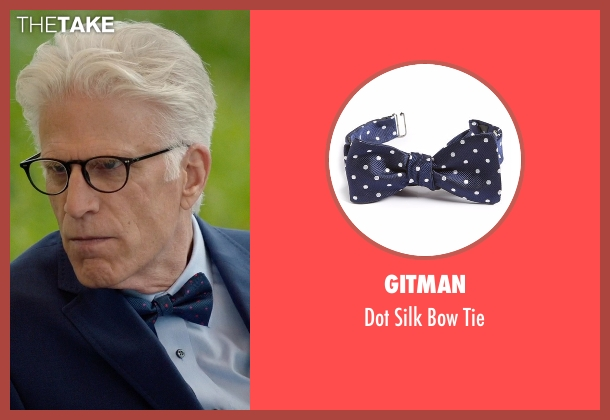 Gitman blue tie from The Good Place seen with Michael (Ted Danson)