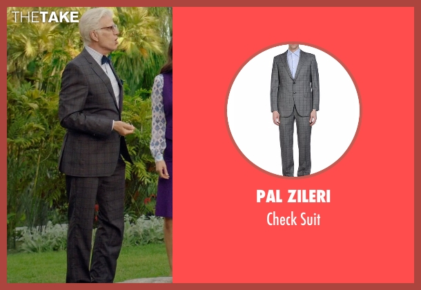 Pal Zileri gray suit from The Good Place seen with Michael (Ted Danson)