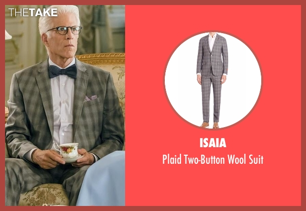 Isaia gray suit from The Good Place seen with Michael (Ted Danson)