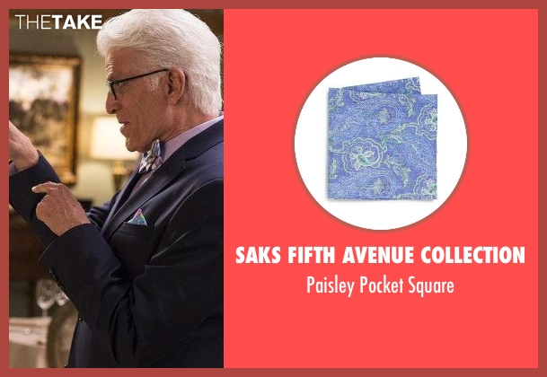 Saks Fifth Avenue Collection purple square from The Good Place seen with Michael (Ted Danson)