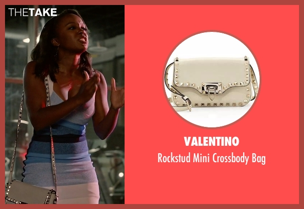 Valentino beige bag from How To Get Away With Murder seen with Michaela Pratt (Aja Naomi King)