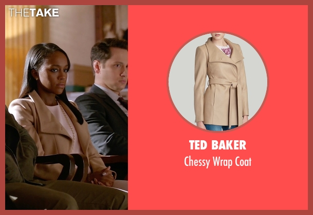 Ted Baker  beige coat from How To Get Away With Murder seen with Michaela Pratt (Aja Naomi King)