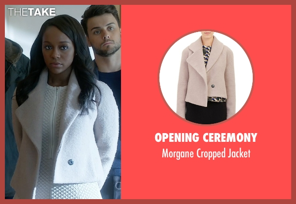 Opening Ceremony beige jacket from How To Get Away With Murder seen with Michaela Pratt (Aja Naomi King)