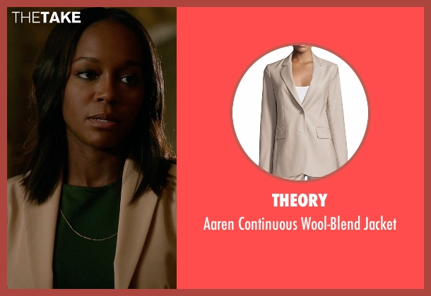 Theory beige jacket from How To Get Away With Murder seen with Michaela Pratt (Aja Naomi King)