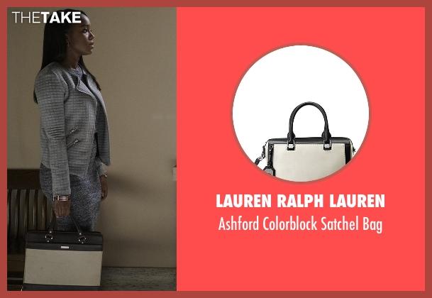 Lauren Ralph Lauren black bag from How To Get Away With Murder seen with Michaela Pratt (Aja Naomi King)