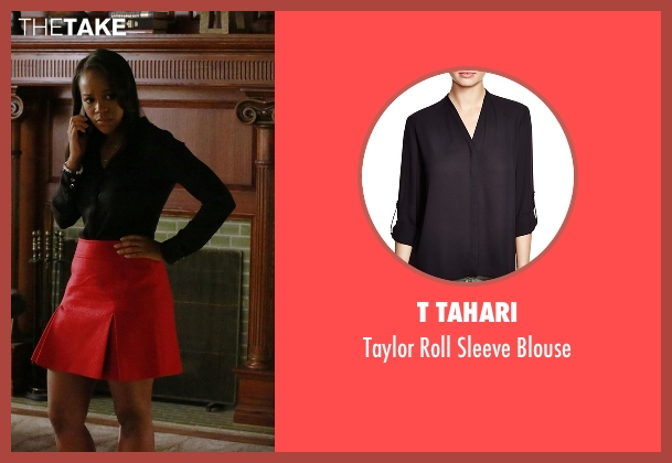 T Tahari  black blouse from How To Get Away With Murder seen with Michaela Pratt (Aja Naomi King)