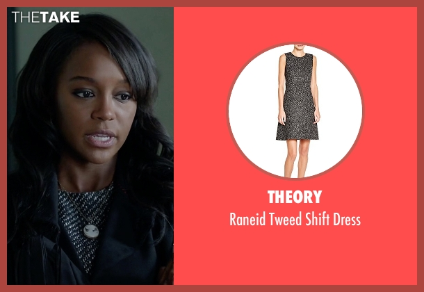 Theory black dress from How To Get Away With Murder seen with Michaela Pratt (Aja Naomi King)