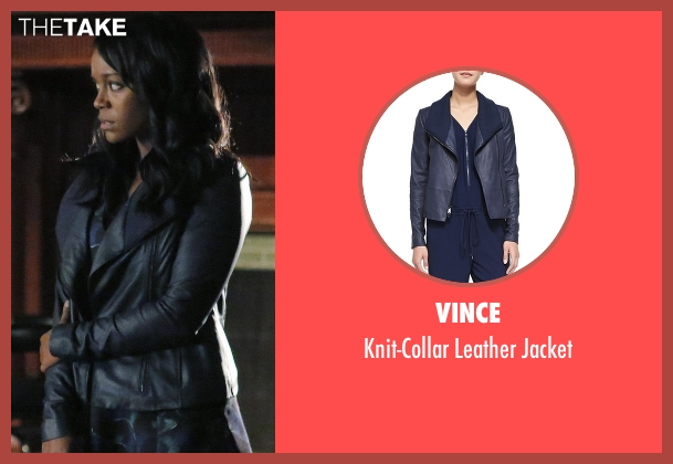 Vince black jacket from How To Get Away With Murder seen with Michaela Pratt (Aja Naomi King)