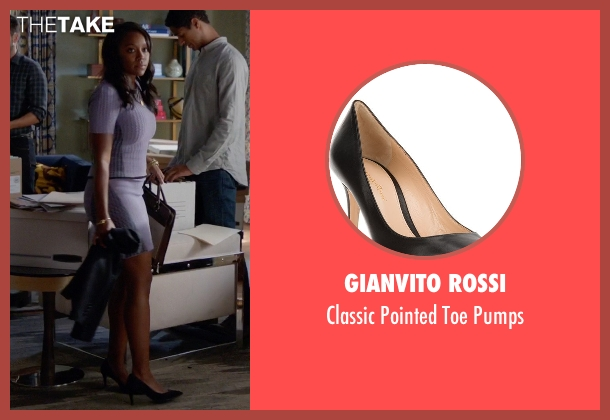 Gianvito Rossi black pumps from How To Get Away With Murder seen with Michaela Pratt (Aja Naomi King)