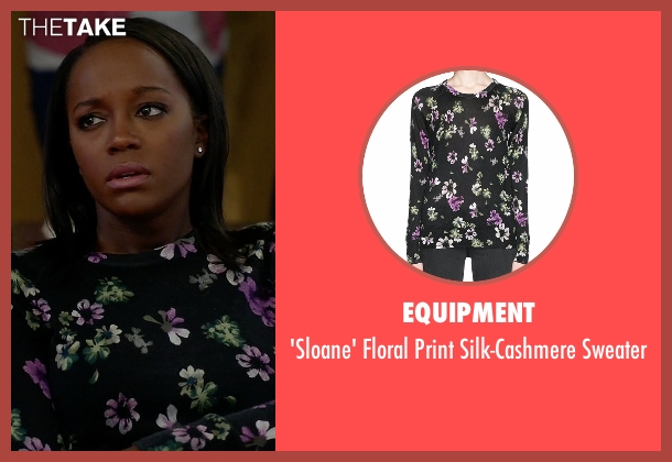 Equipment black sweater from How To Get Away With Murder seen with Michaela Pratt (Aja Naomi King)