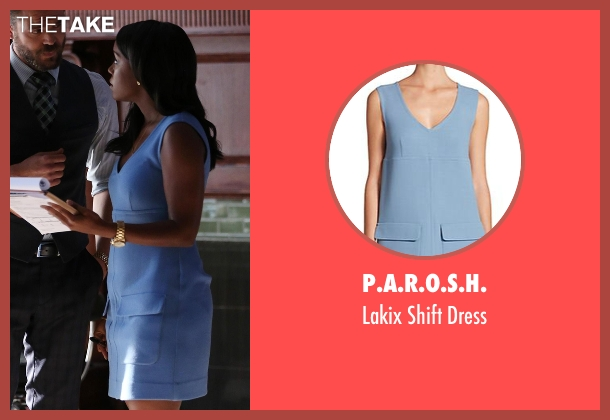 P.A.R.O.S.H. blue dress from How To Get Away With Murder seen with Michaela Pratt (Aja Naomi King)