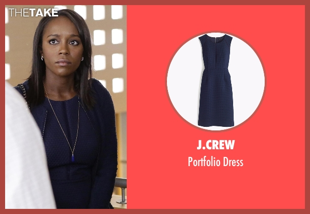 J.Crew blue dress from How To Get Away With Murder seen with Michaela Pratt (Aja Naomi King)