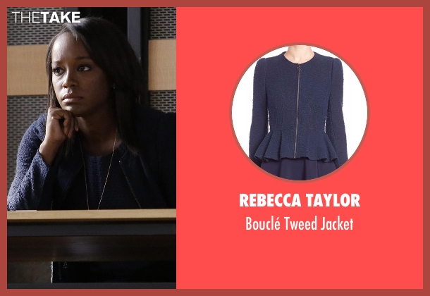 Rebecca Taylor blue jacket from How To Get Away With Murder seen with Michaela Pratt (Aja Naomi King)