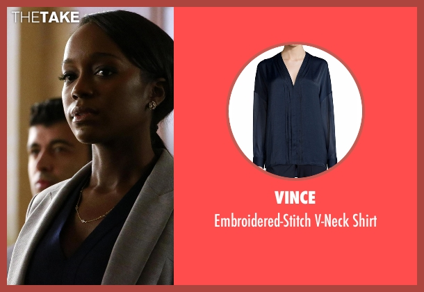 Vince blue shirt from How To Get Away With Murder seen with Michaela Pratt (Aja Naomi King)