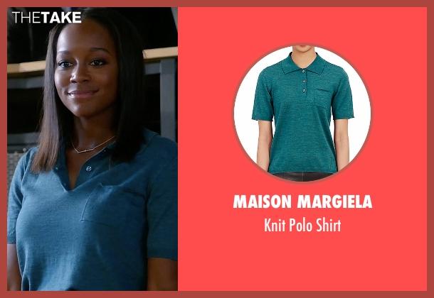 Maison Margiela blue shirt from How To Get Away With Murder seen with Michaela Pratt (Aja Naomi King)