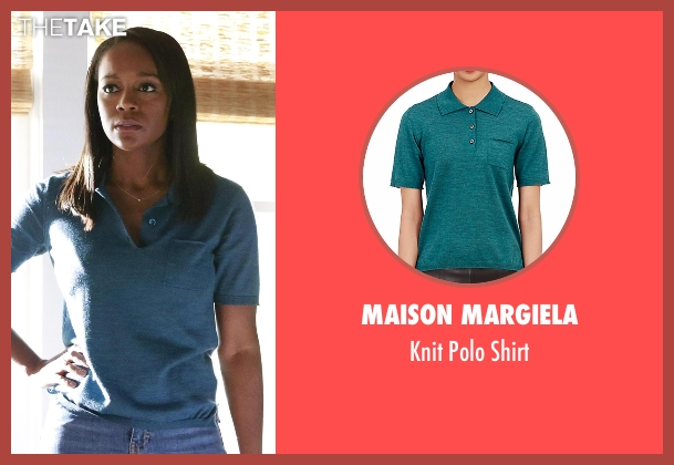 Maison Margiela blue shirt from How To Get Away With Murder seen with Michaela Pratt (Aja Naomi King)