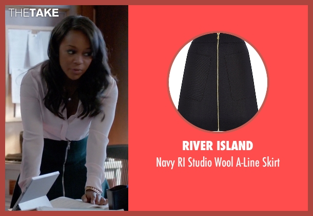 River Island blue skirt from How To Get Away With Murder seen with Michaela Pratt (Aja Naomi King)