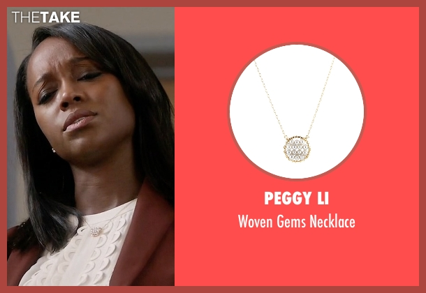Peggy Li gold necklace from How To Get Away With Murder seen with Michaela Pratt (Aja Naomi King)