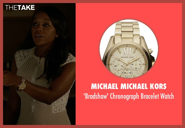 Michael Michael Kors gold watch from How To Get Away With Murder seen with Michaela Pratt (Aja Naomi King)
