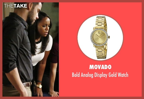 Movado gold watch from How To Get Away With Murder seen with Michaela Pratt (Aja Naomi King)