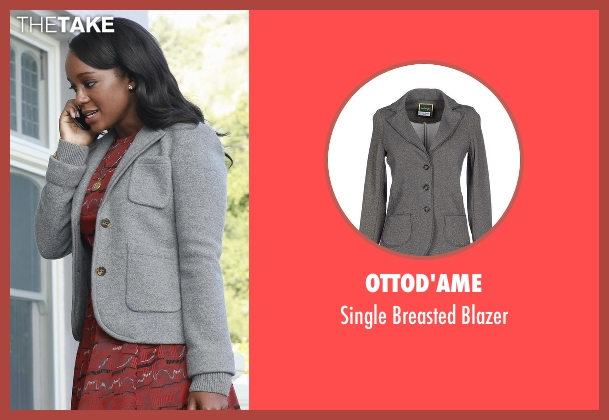 Ottod'ame gray blazer from How To Get Away With Murder seen with Michaela Pratt (Aja Naomi King)