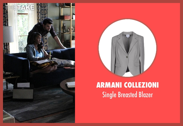 Armani Collezioni gray blazer from How To Get Away With Murder seen with Michaela Pratt (Aja Naomi King)