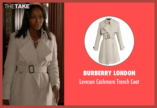 Burberry London gray coat from How To Get Away With Murder seen with Michaela Pratt (Aja Naomi King)