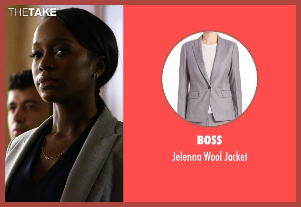 Boss gray jacket from How To Get Away With Murder seen with Michaela Pratt (Aja Naomi King)