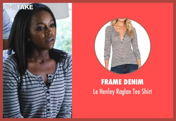 Frame Denim gray shirt from How To Get Away With Murder seen with Michaela Pratt (Aja Naomi King)