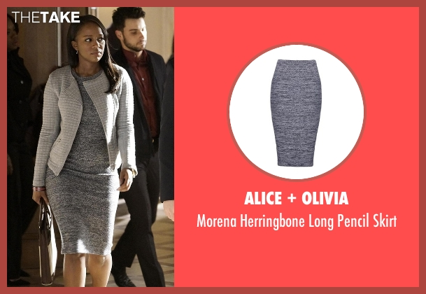 Alice + Olivia gray skirt from How To Get Away With Murder seen with Michaela Pratt (Aja Naomi King)