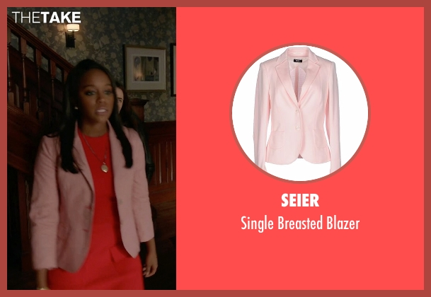 Seier pink blazer from How To Get Away With Murder seen with Michaela Pratt (Aja Naomi King)