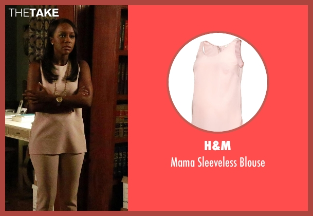 H&M pink blouse from How To Get Away With Murder seen with Michaela Pratt (Aja Naomi King)