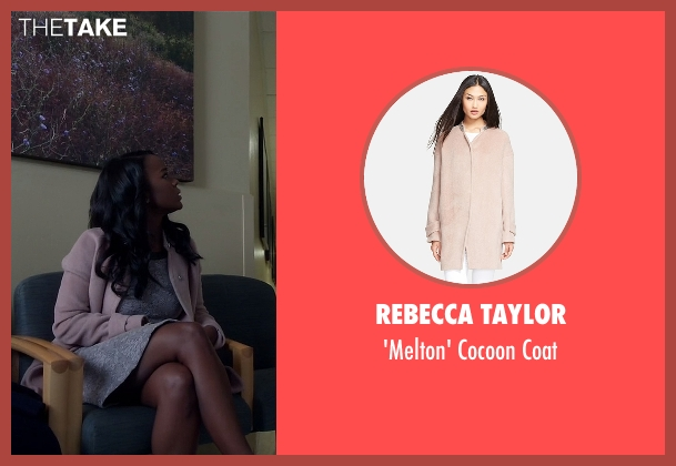 Rebecca Taylor pink coat from How To Get Away With Murder seen with Michaela Pratt (Aja Naomi King)