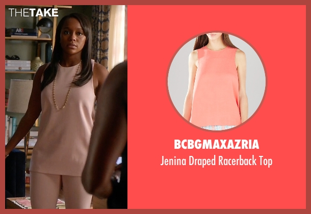 BCBGmaxazria pink top from How To Get Away With Murder seen with Michaela Pratt (Aja Naomi King)