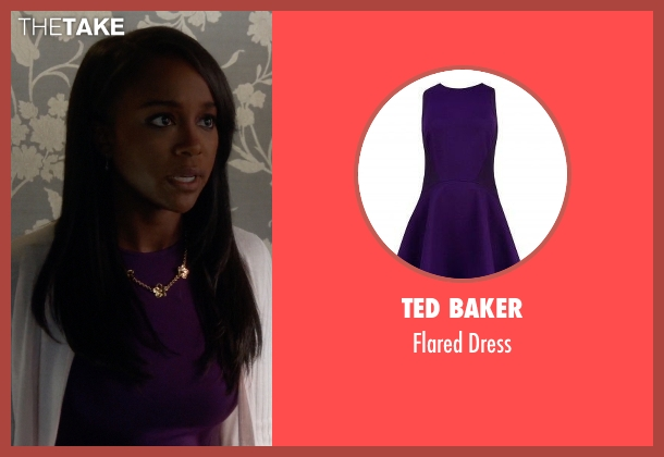 Ted Baker purple dress from How To Get Away With Murder seen with Michaela Pratt (Aja Naomi King)