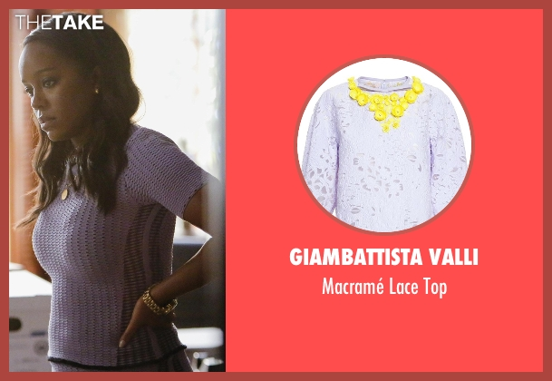 Giambattista Valli purple top from How To Get Away With Murder seen with Michaela Pratt (Aja Naomi King)