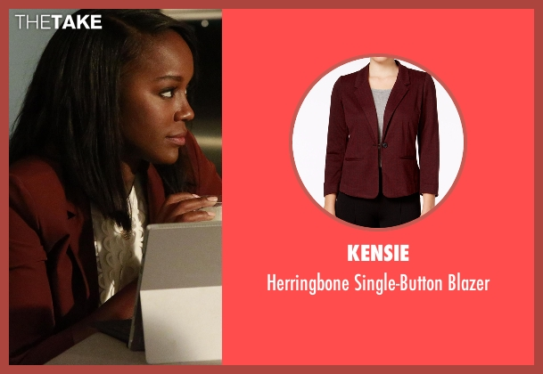 Kensie red blazer from How To Get Away With Murder seen with Michaela Pratt (Aja Naomi King)