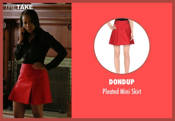 Dondup red skirt from How To Get Away With Murder seen with Michaela Pratt (Aja Naomi King)